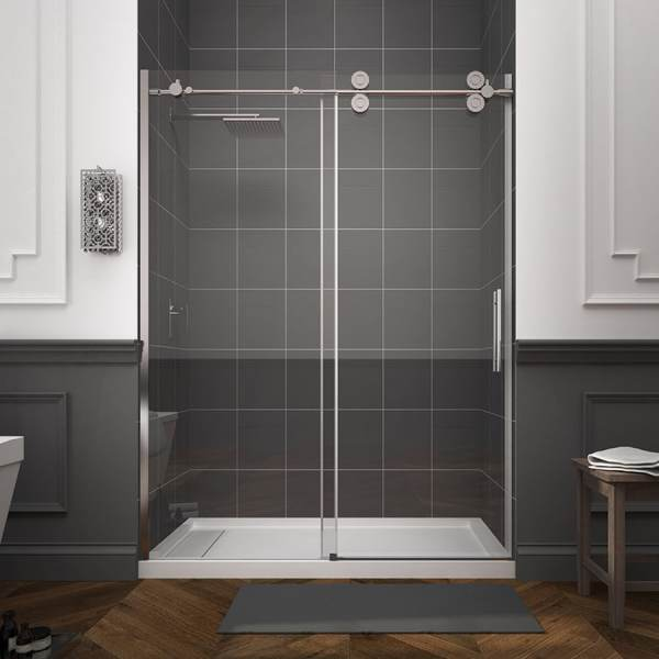 Shop Shower Doors at Lowes com OVE Decors Sydney 56 in to 59 in W Frameless Polished Chrome Sliding Shower