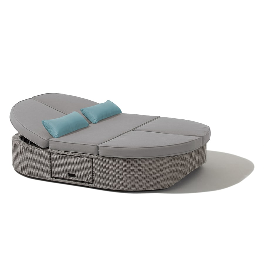 OVE Decors Sandra Wicker Outdoor Daybed with Solid Gray ... on Belham Living Lilianna Outdoor Daybed id=50067