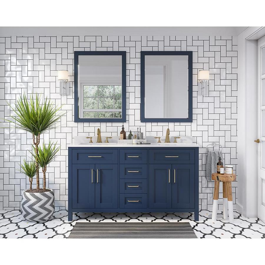 ove decors tahoe 60 in midnight blue undermount double sink bathroom vanity with white engineered stone top mirror included