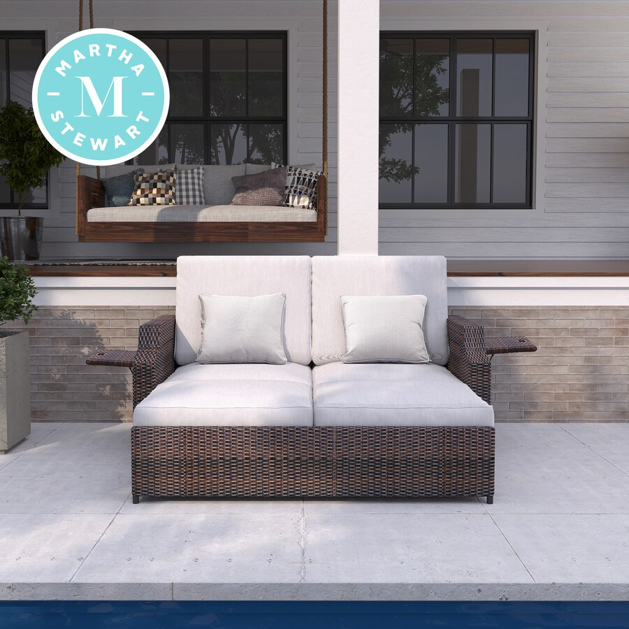 martha stewart sunnyside outdoor daybed with cushion s and brown steel frame
