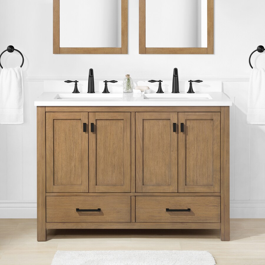 allen roth ronald 48 in almond toffee undermount double sink bathroom vanity with white engineered stone top