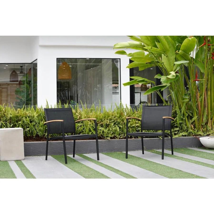 international home amazonia 2 piece teak finish and aluminum patio sofa chair set