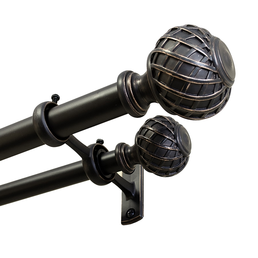 allen roth 36 in to 72 in dark oil rubbed bronze steel double curtain rod