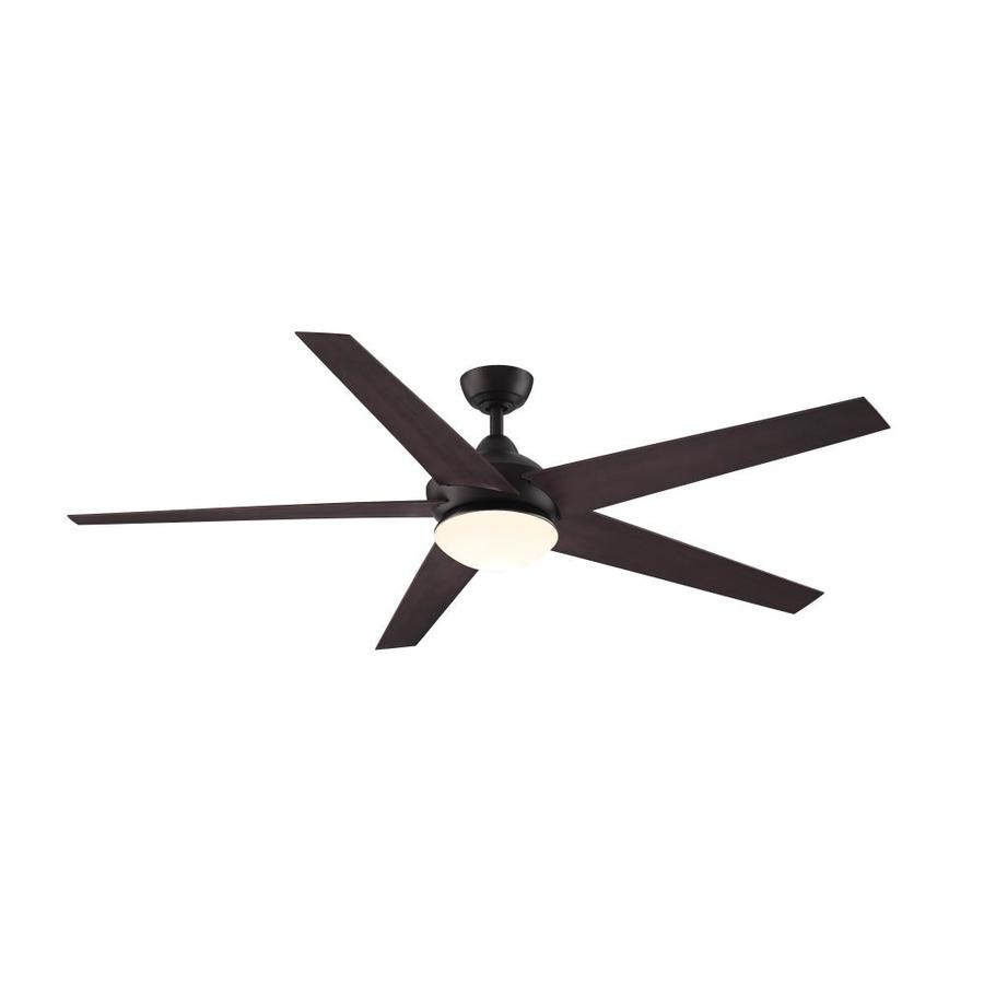 fanimation studio collection covert 64 in aged bronze led indoor outdoor ceiling fan with light and remote 5 blade