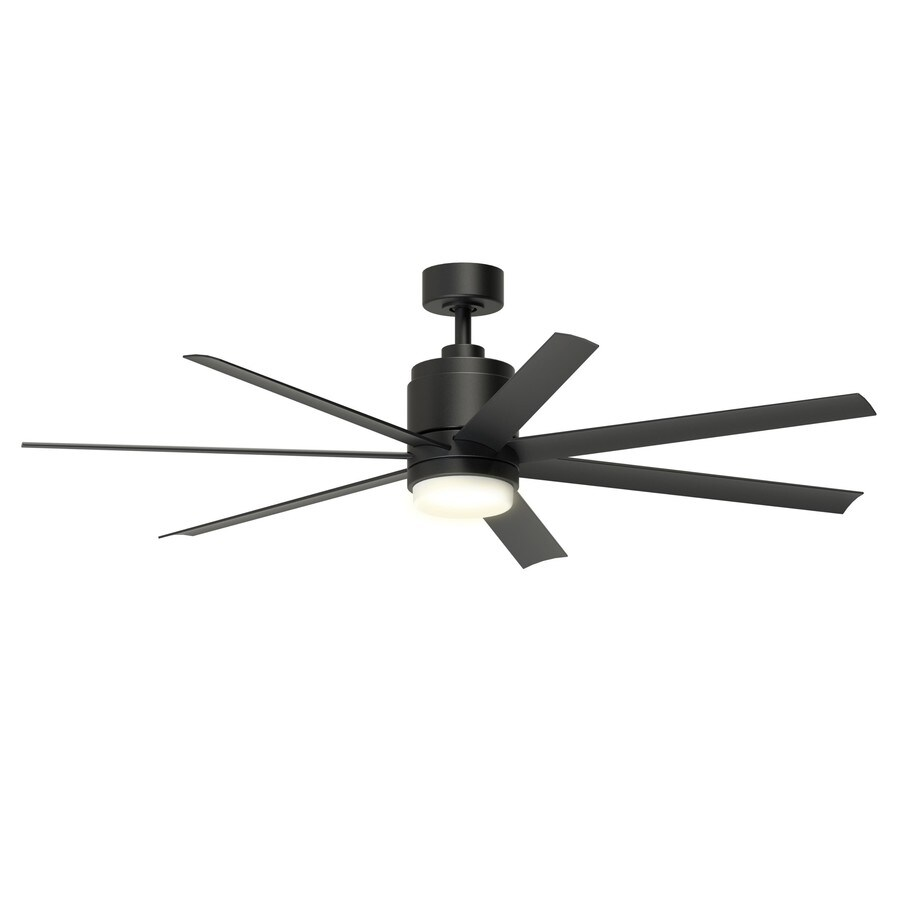 fanimation studio collection blitz 56 in black led indoor outdoor ceiling fan with light and remote 7 blade