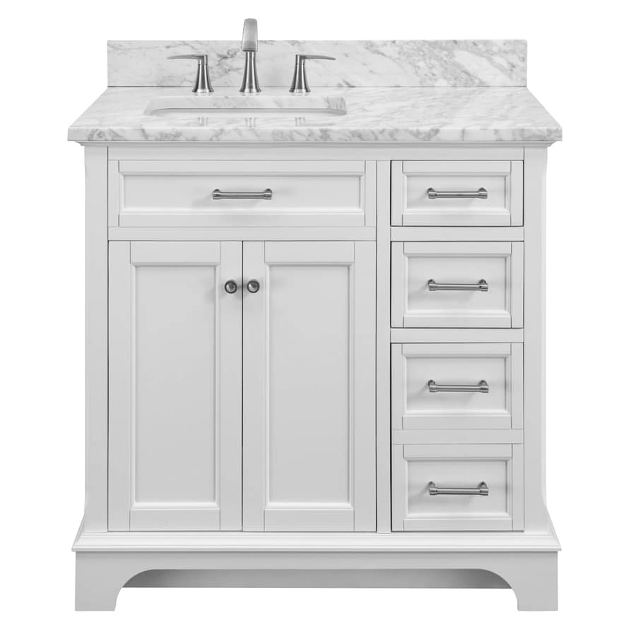 allen roth roveland 36 in white undermount single sink bathroom vanity with natural carrara marble top