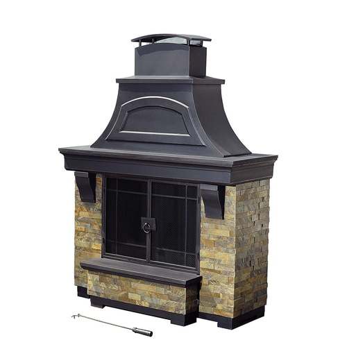 Sunjoy Black Steel Outdoor Wood-Burning Fireplace at Lowes.com on Quillen Steel Outdoor Fireplace id=41851
