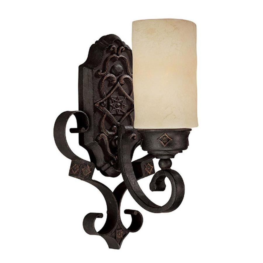 Shop Century 9-in W 1-Light Rustic Iron Arm Wall Sconce at ... on Rustic Wall Sconces id=55185