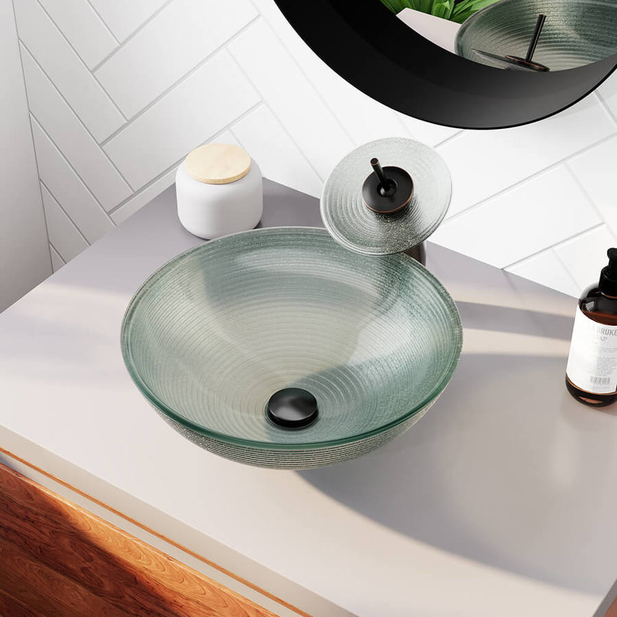 mr direct iridescent tempered glass vessel round bathroom sink with faucet drain included 16 5 in x 16 5 in
