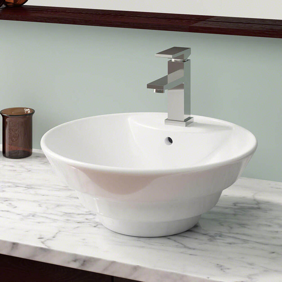 mr direct white porcelain vessel round bathroom sink with overflow drain 17 5 in x 17 5 in