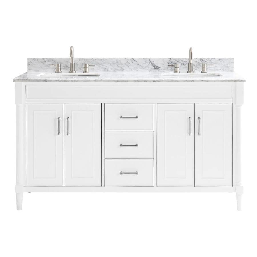 Al Roth Perrella  In White Double Sink Bathroom Vanity With Carrera White Natural Marble Top