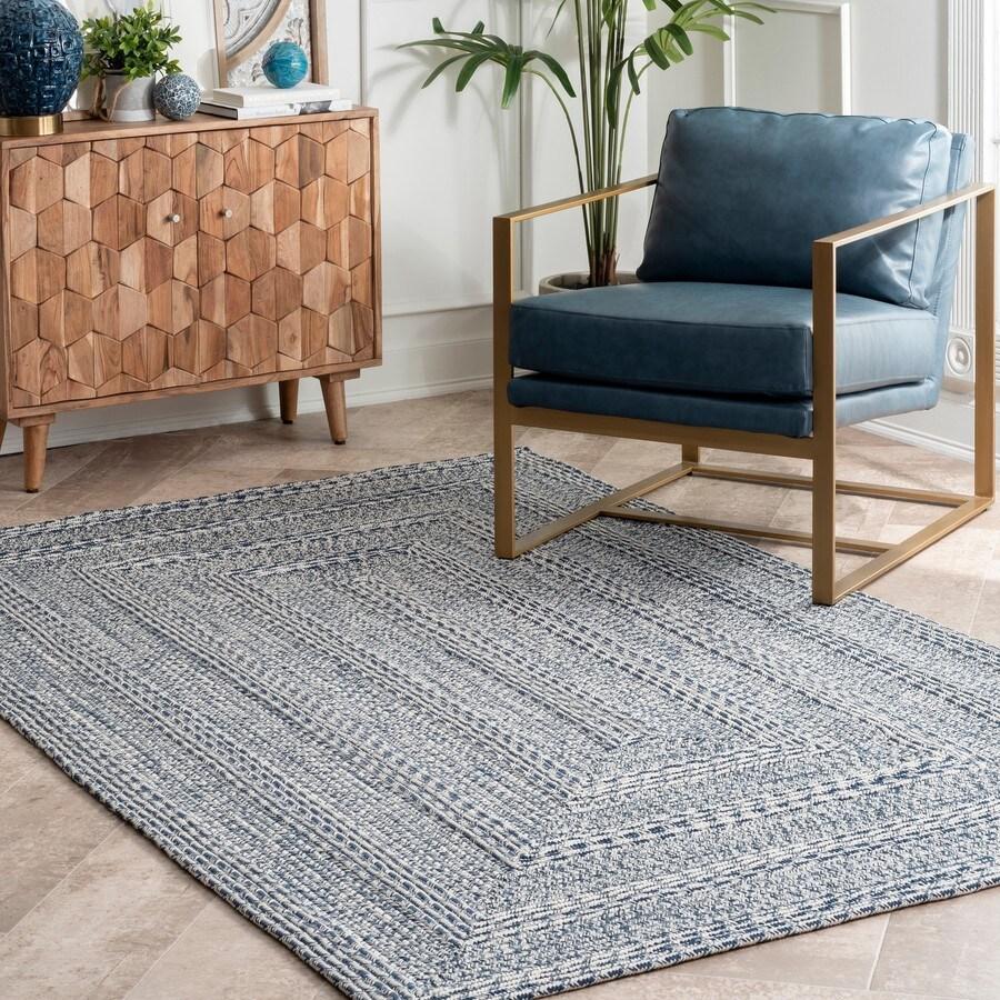 nuloom 6 x 9 blue indoor outdoor stripe coastal area rug