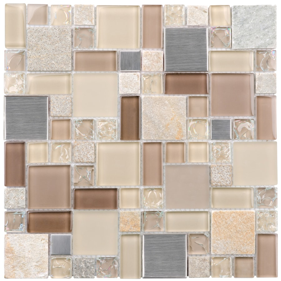 elida ceramica earth cubes stainless 12 in x 12 in glossy glass metal stone slate wall tile