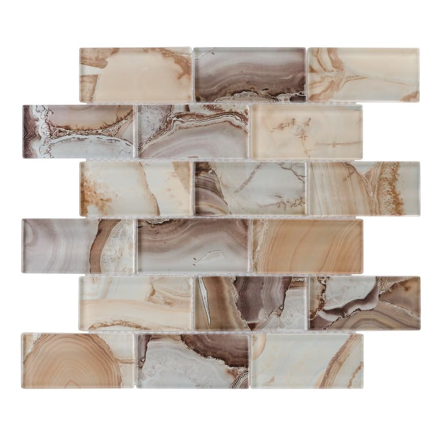 elida ceramica volcanic essence 12 in x 12 in glossy glass brick subway wall tile