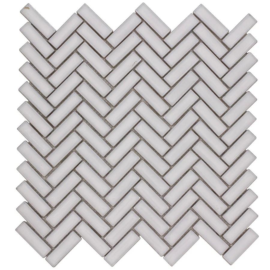 elida ceramica chelsea white 12 in x 12 in ceramic herringbone mosaic wall tile common 12 in x 12 in actual 11 in x 11 in lowes com