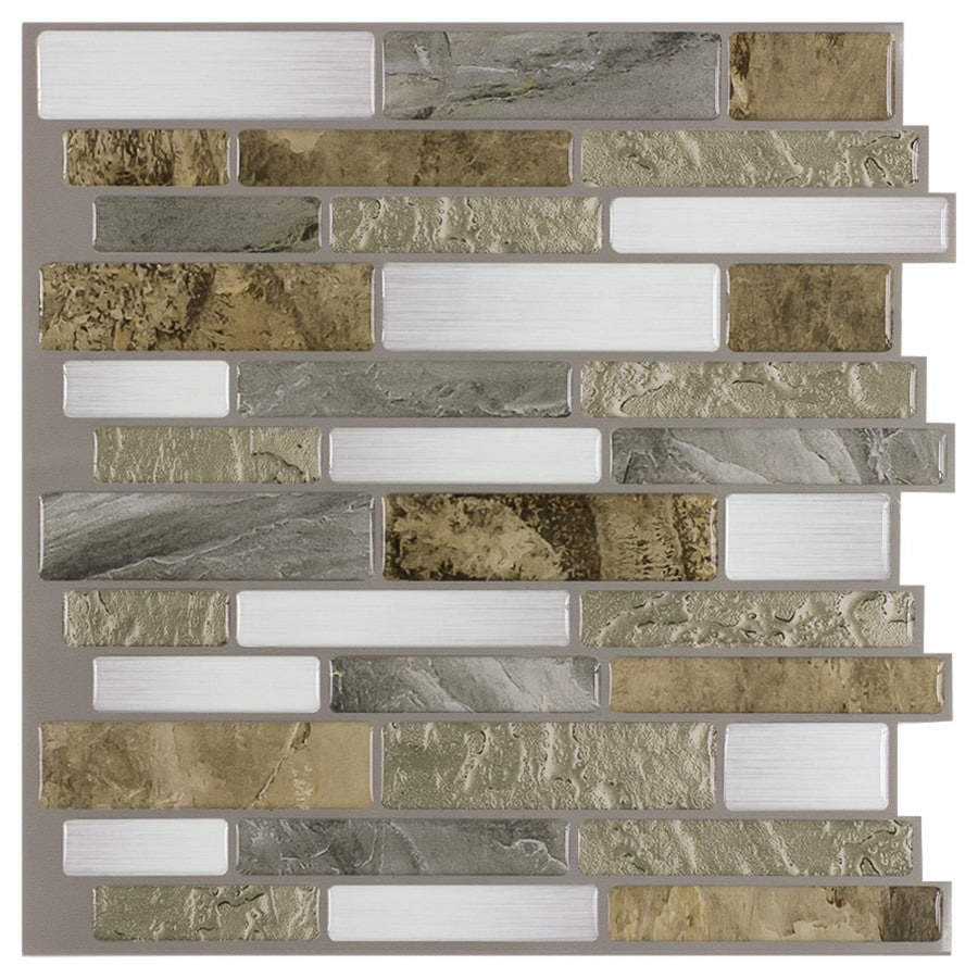 peel stick mosaics peel and stick mountain terrain 10 in x 10 in glossy composite linear peel and stick wall tile