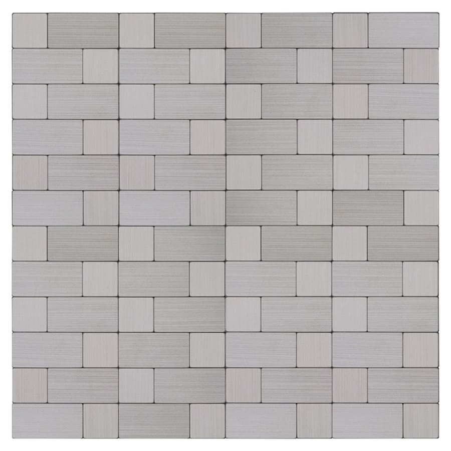 peel stick mosaics peel and stick stainless block 12 in x 12 in metallic metal linear peel and stick wall tile lowes com