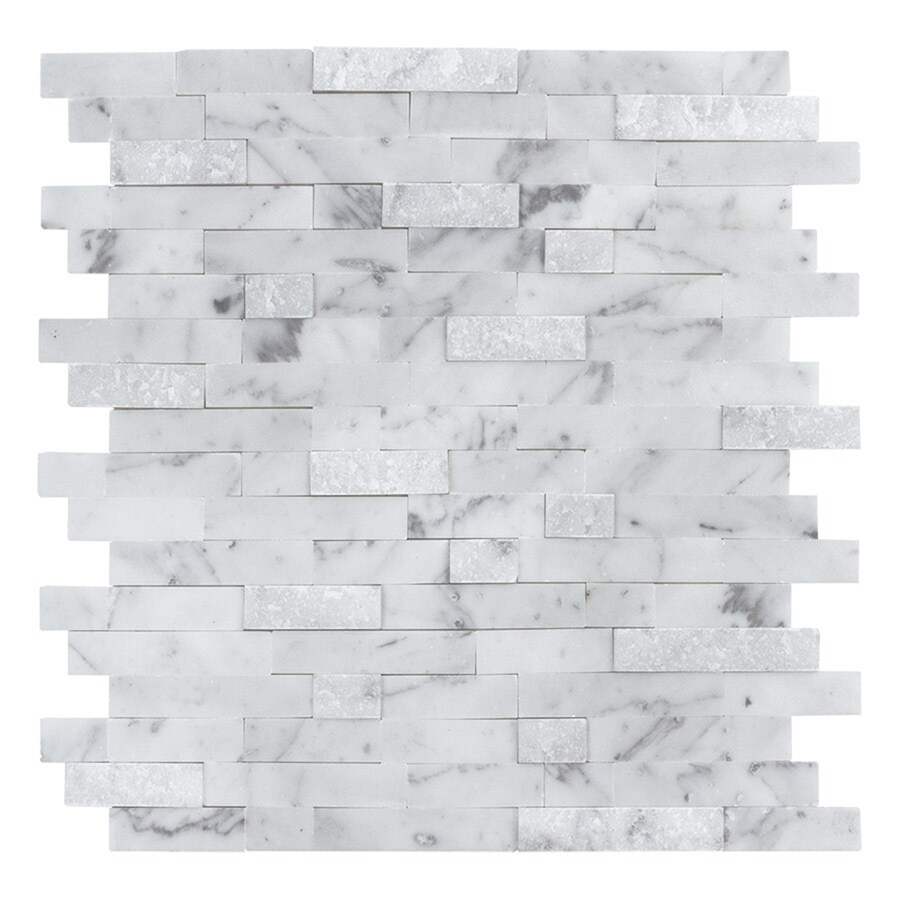 peel stick mosaics peel and stick stacked carrara 12 in x 12 in multi finish natural stone linear marble look peel and stick wall tile