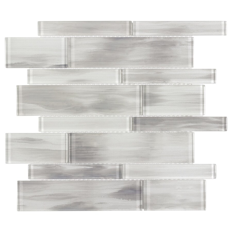 elida ceramica white 12 in x 12 in glossy glass linear wall tile lowes com