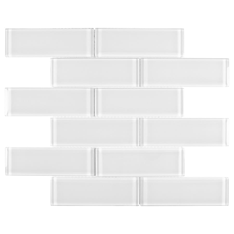 elida ceramica 2x6 super white mos glass 12 in x 12 in glossy glass brick subway wall tile lowes com