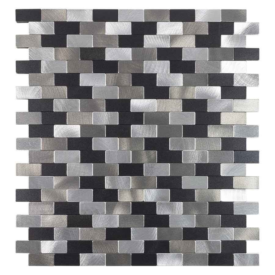 peel stick mosaics peel and stick metro medley black and silver 11 in x 12 in metallic metal brick peel and stick wall tile
