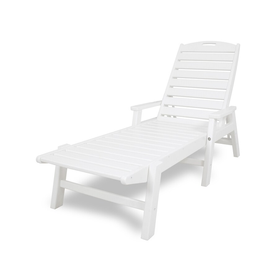 polywood nautical white plastic frame stationary chaise lounge chair s with slat seat seat