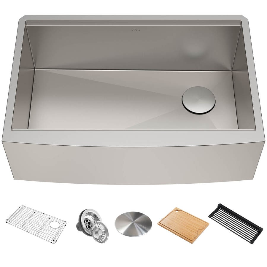 kraus kore workstation farmhouse apron front 33 in x 25 in stainless steel single bowl 1 hole workstation kitchen sink all in one kit