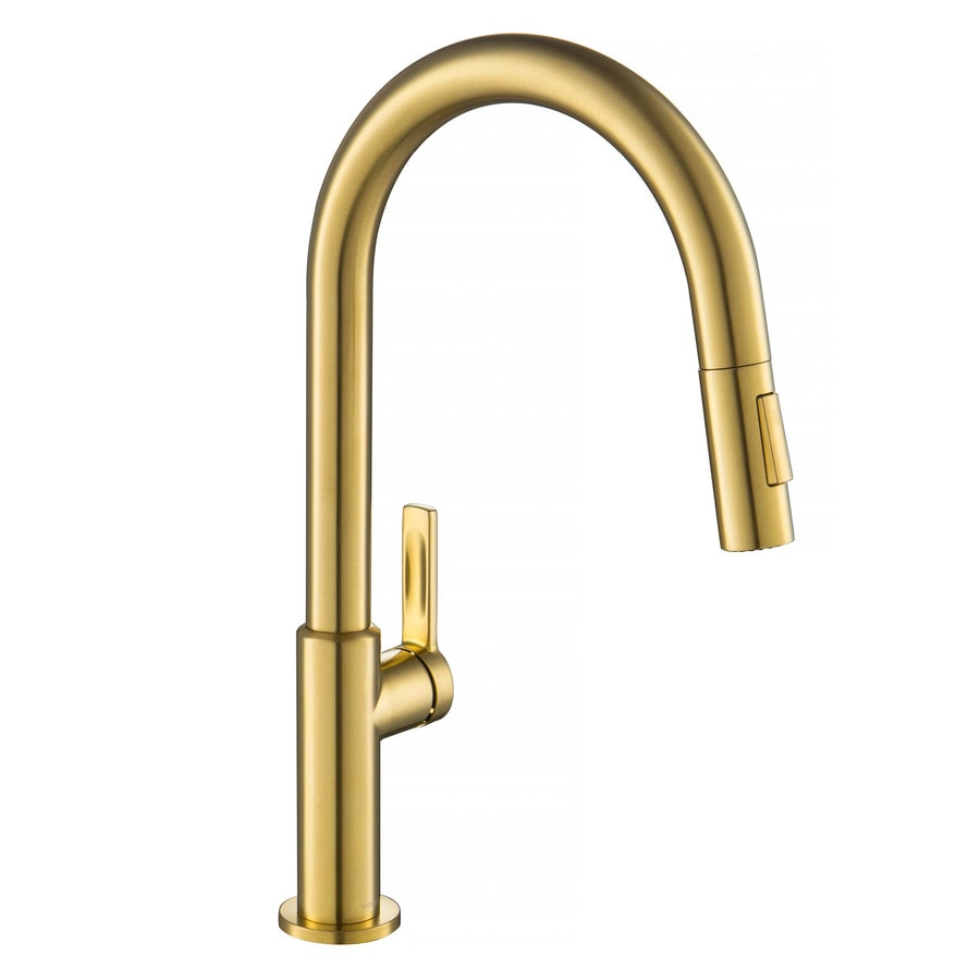 kraus brushed brass 1 handle deck mount pull down handle kitchen faucet