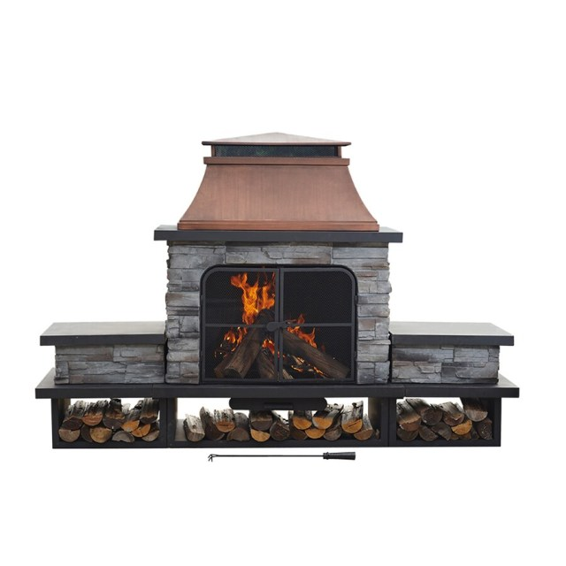 shop sunjoy black steel outdoor wood-burning fireplace at lowes