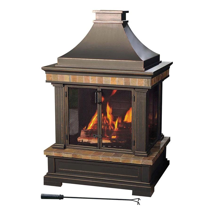 Shop Sunjoy Black Steel Outdoor Wood-Burning Fireplace at ... on Quillen Steel Outdoor Fireplace  id=27548