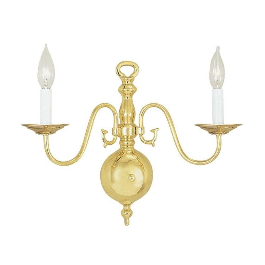 Livex Lighting Williamsburg 12.75-in W 2-Light Polished ... on Brass Wall Sconces Non Electric Lighting id=49318
