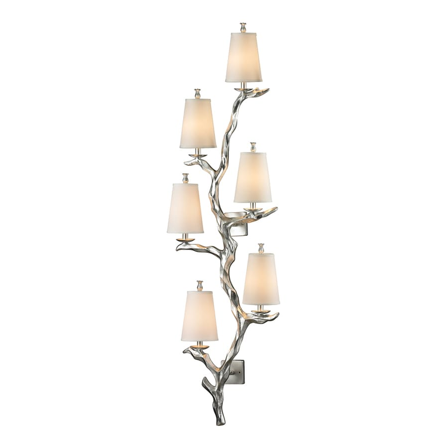 Westmore Lighting Saga 19-in W 6-Light Silver Leaf Candle ... on Silver Wall Sconces For Candles id=13479