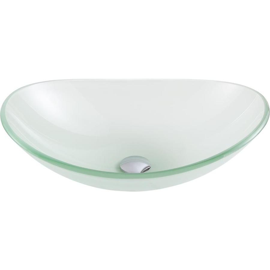 anzzi forza frosted tempered glass vessel oval bathroom sink 21 in x 14 25 in