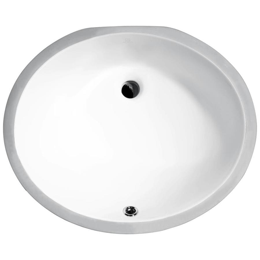 anzzi pegasus white ceramic undermount oval bathroom sink with overflow drain 18 25 in x 15 in lowes com