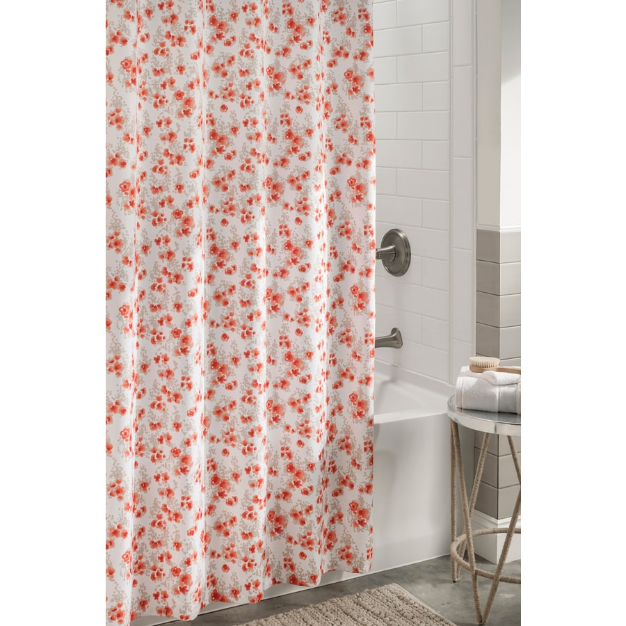 Shop Allen Roth Polyester Coral Floral Shower Curtain At