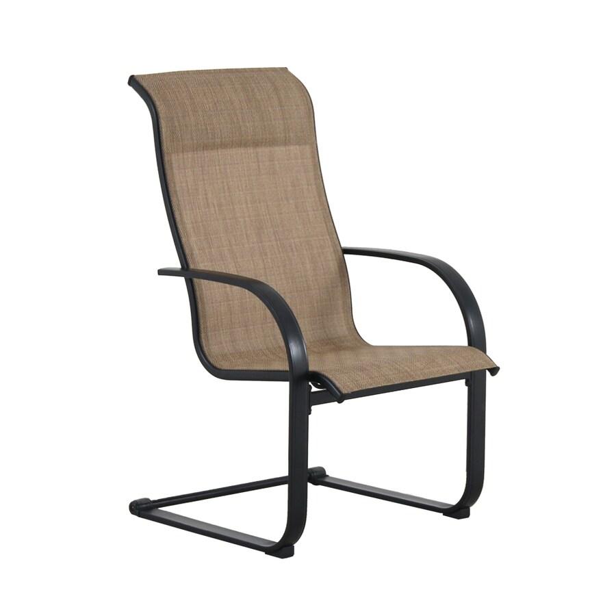 garden treasures pelham bay set of 6 black metal frame spring motion dining chair s with tan sling seat
