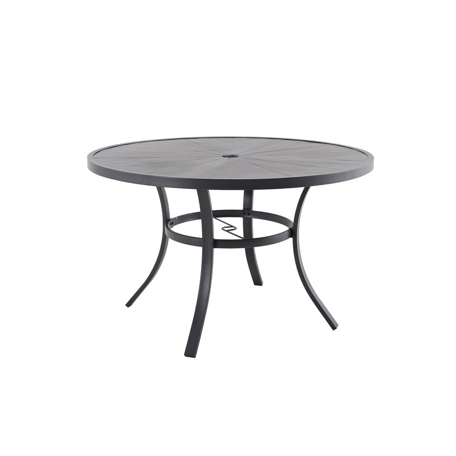 allen roth aspen grove round outdoor dining table 48 in w x 48 in l with umbrella hole