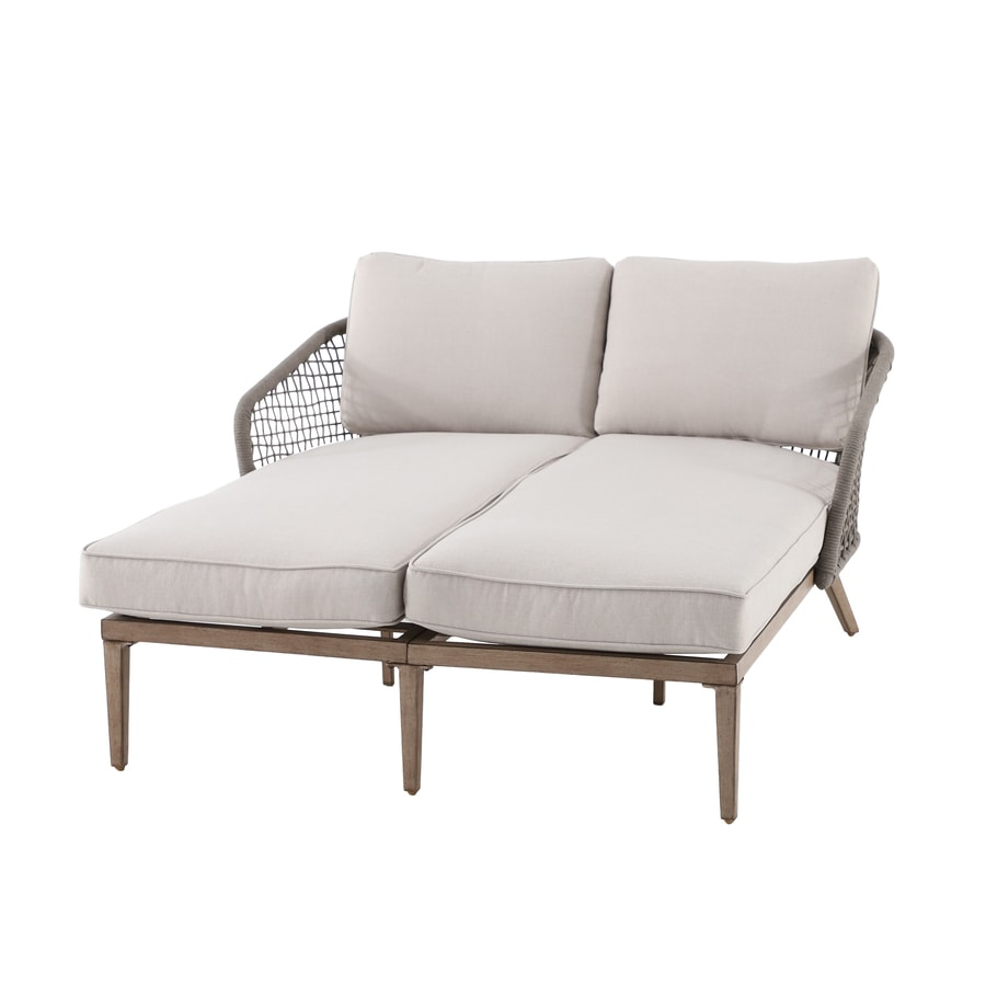 allen roth wicker outdoor loveseat with cushion s and white aluminum frame