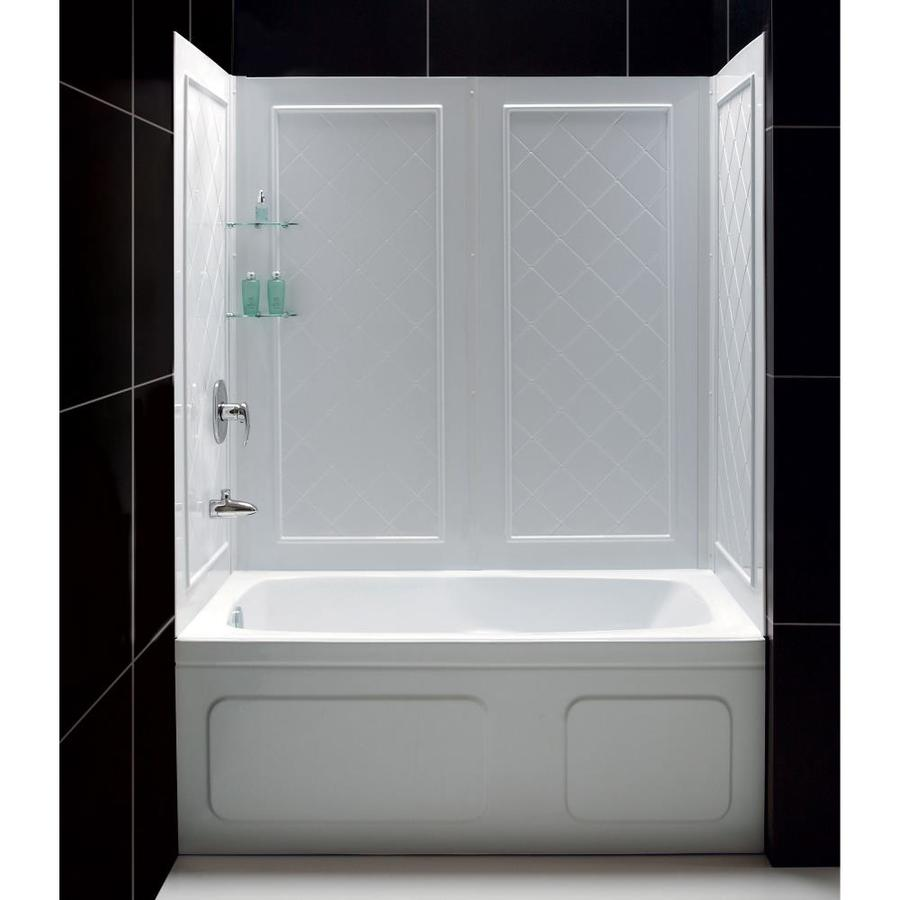 Shop DreamLine Qwall Tub White Acrylic Bathtub Wall Surround Common 60 In X 32 In Actual 60