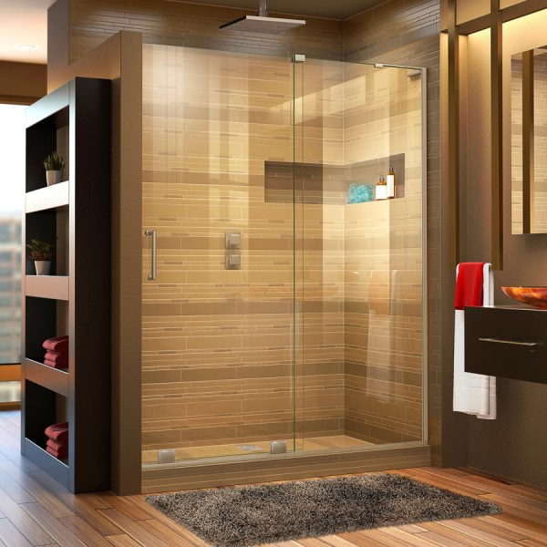 Shop Shower Doors at Lowes com DreamLine Mirage X 56 in to 60 in W Frameless Brushed Nickel Bypass