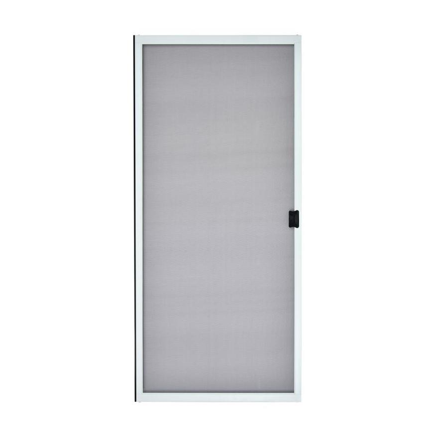 grisham 36 in x 80 in white steel frame sliding patio screen door lowes com