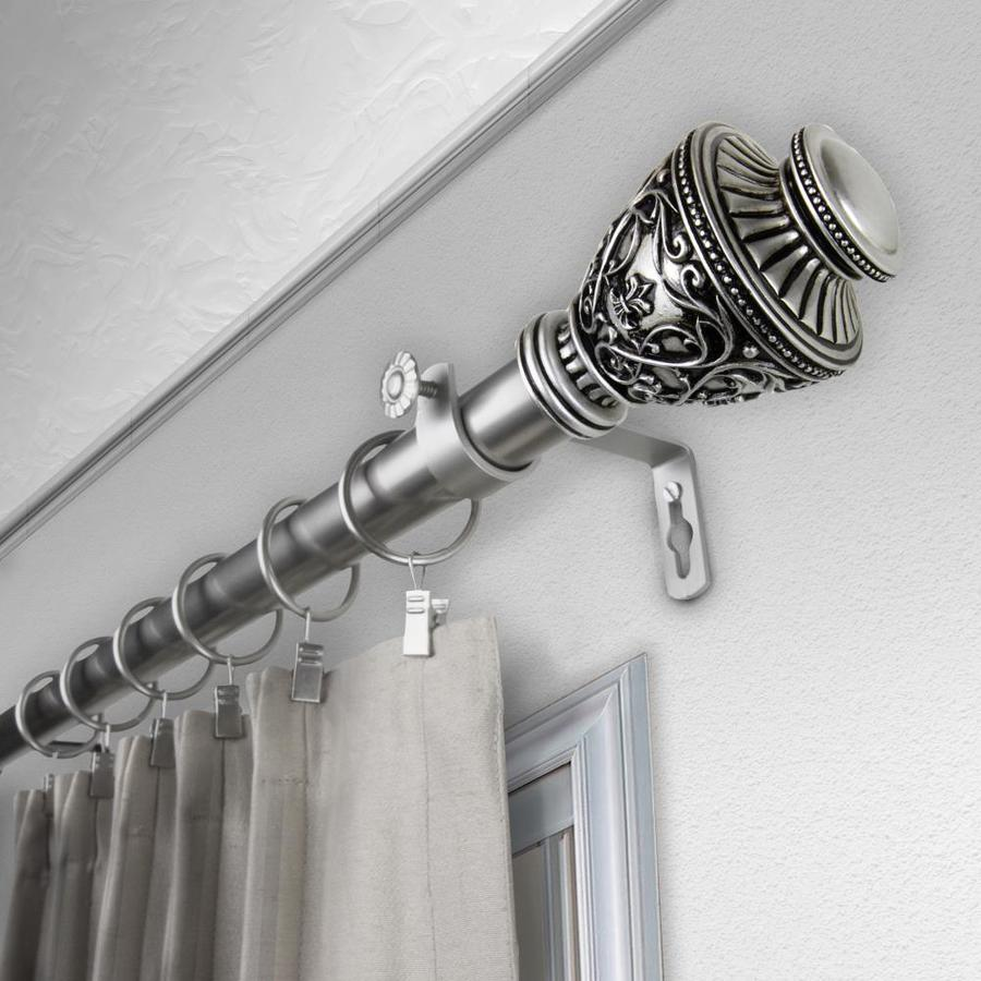 rod desyne 66 in to 120 in satin nickel steel single curtain rod in the curtain rods department at lowes com