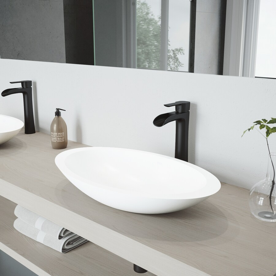 vigo vessel sink matte white matte stone vessel oval bathroom sink with faucet drain included 23 125 in x 13 5 in in the bathroom sinks department at lowes com