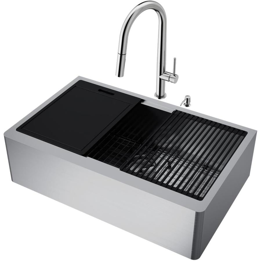 vigo oxford farmhouse apron front 33 in x 20 5 in stainless steel single bowl workstation kitchen sink all in one kit