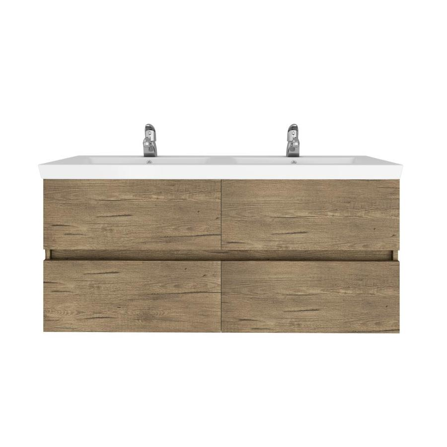 belvedere bath athena 48 in natural double sink bathroom vanity with white porcelain top