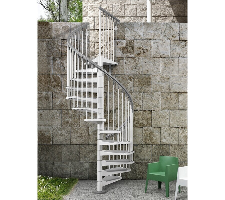 Arke Eureka 55 In X 10 Ft White Spiral Staircase Kit In | Spiral Staircase 10 Feet