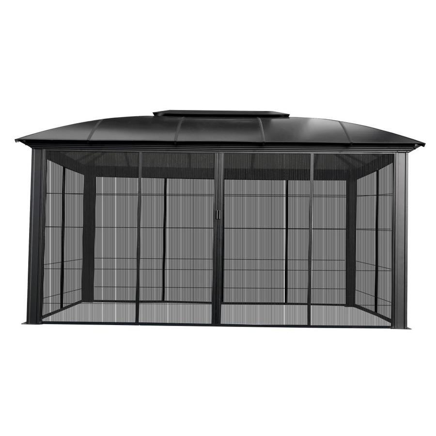 paragon outdoor black metal rectangle gazebo with aluminum roof exterior 15 9 ft x 11 2 ft foundation 10 6 ft x 15 1 ft