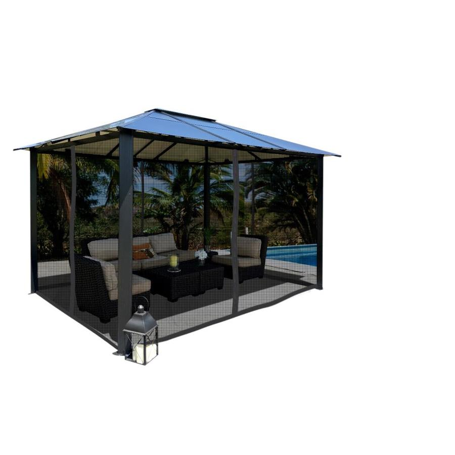 paragon outdoor black metal rectangle semi permanent gazebo with aluminum roof exterior 13 2 ft x 9 11 ft foundation 8 1 ft x 12 2 ft