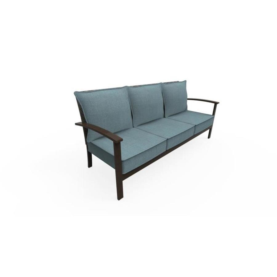 allen roth atworth outdoor sofa with cushion s and peacock blue aluminum frame
