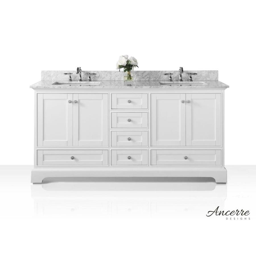 ancerre designs audrey 72 in white undermount double sink bathroom vanity with carrara white natural marble top lowes com